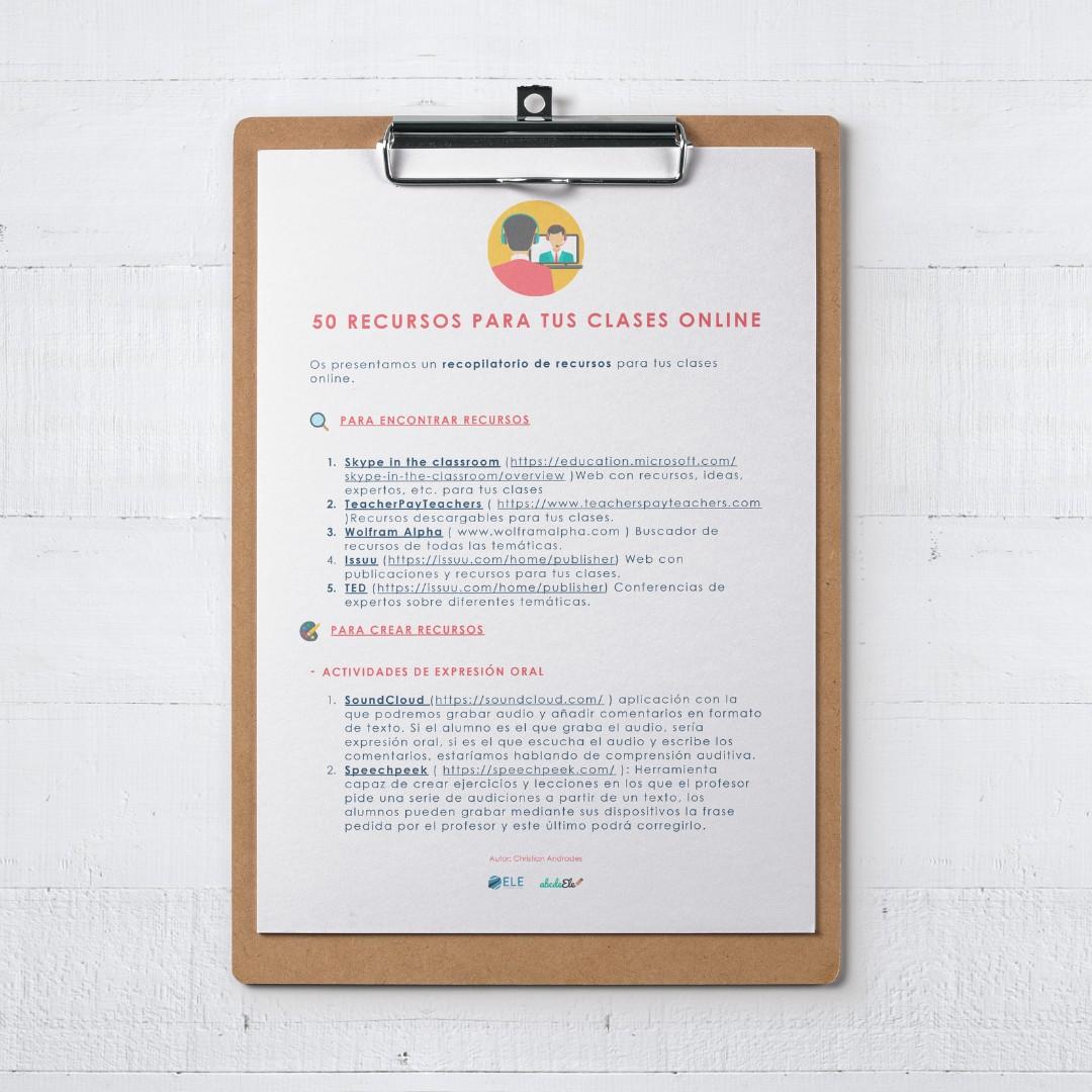 Guía 1 sobre 50 recursos para tus clases online