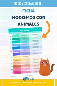 Modismos con animales en clases de español. Una infografía para enseñar a tus alumnos a usar expresiones divertidas. #spanishteacher #infografía #modismo