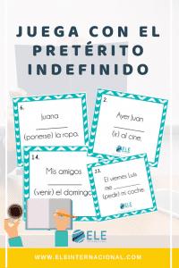 Juega con el pretérito indefinido. Actividad para clase de español. Fichas para trabajar en clase de ELE. #profedeele #español