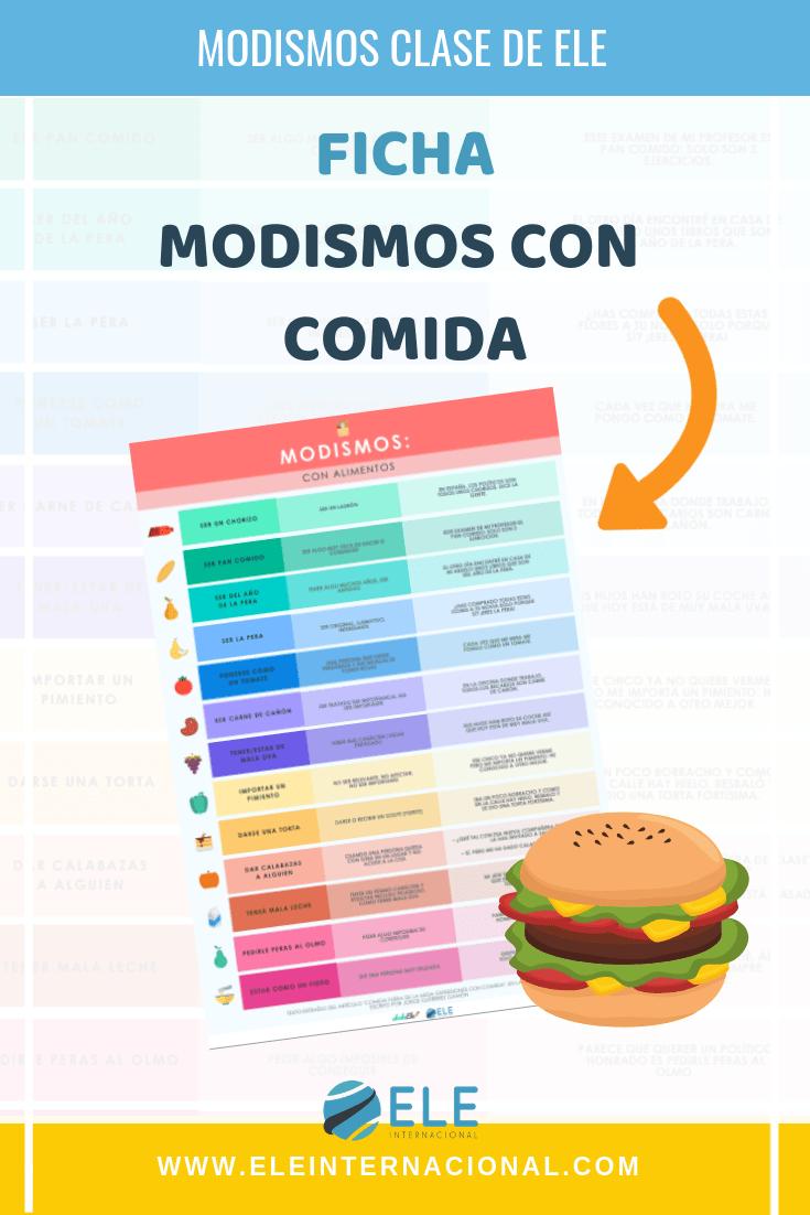 modismos con alimentos. Ficha con vocabulario para clase de español. Cultura en clase de ELE. #spanishteacher