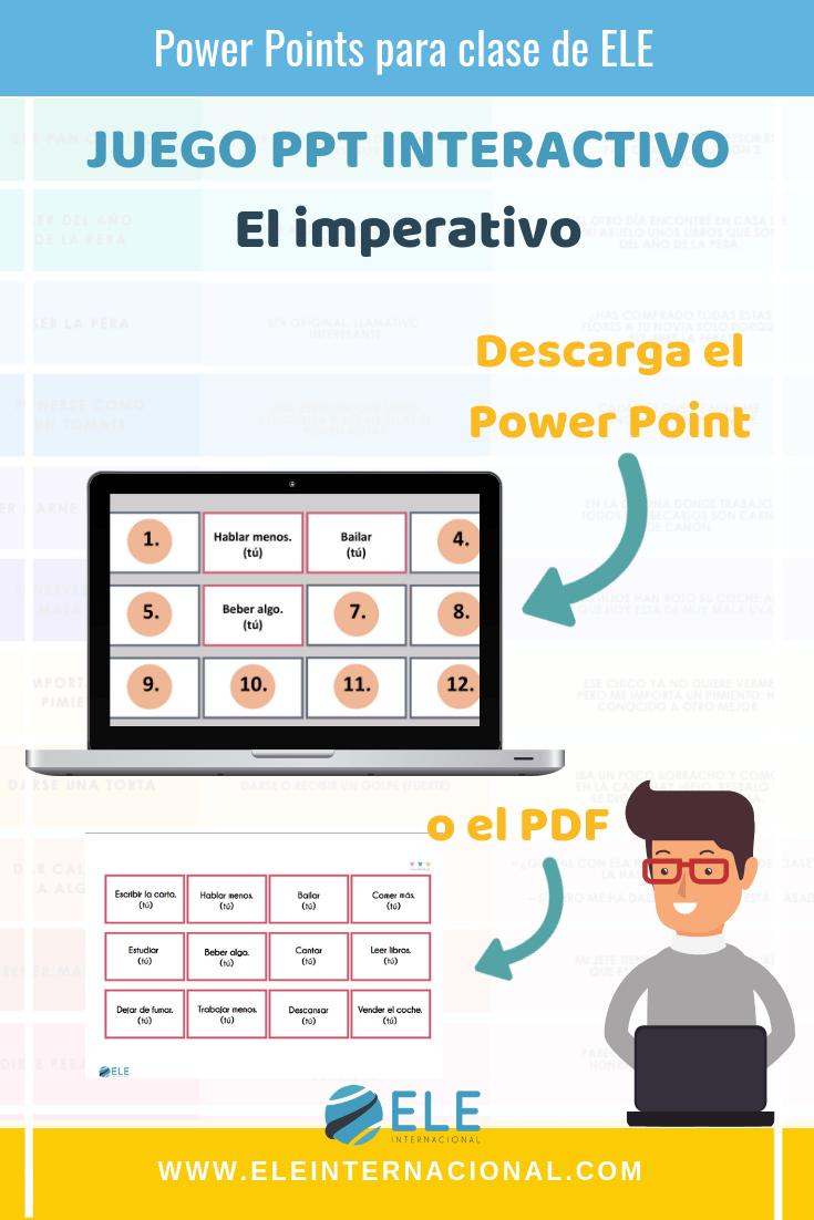 El imperativo. Descarga actividades para clase de español. Power Point gramática en clase de ELE. Juegos para clase de español.