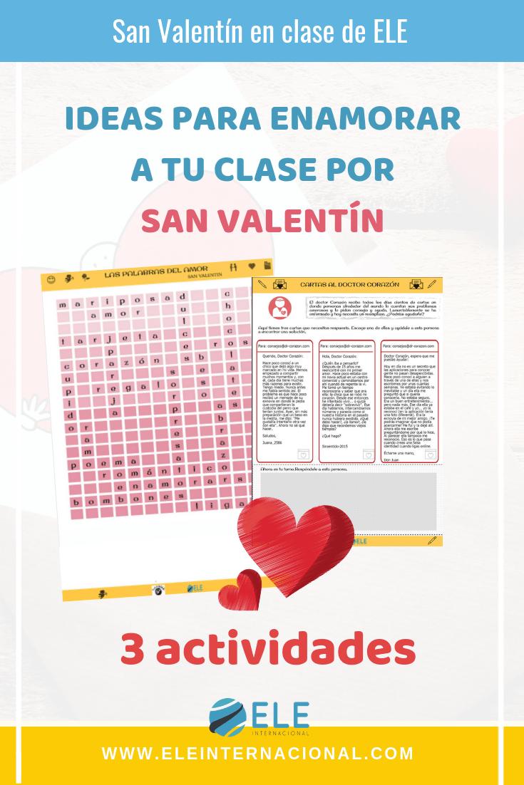 Ideas para trabajar en San Valentin en clase de español. Ideas y actividades originales. #profedeele #spanishteacher