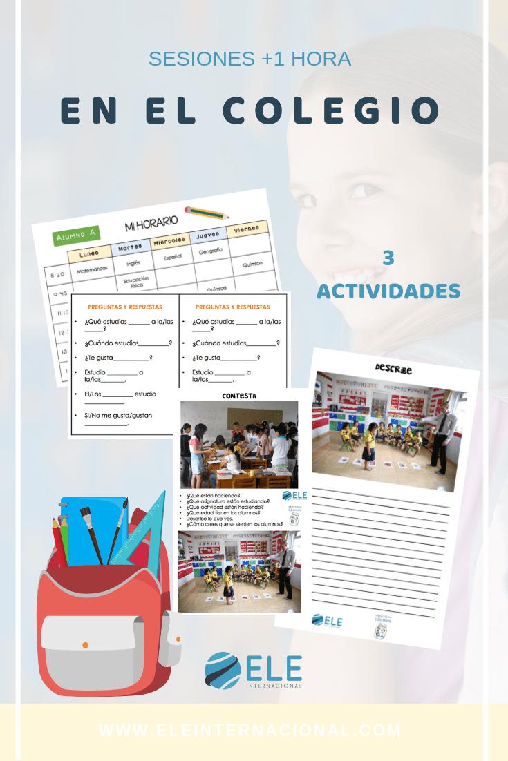 Actividad para trabajar los horarios en clase de ELE. Fichas para trabajar vocabulario de las clases y el colegio. #clasesdeele #spanishteacher