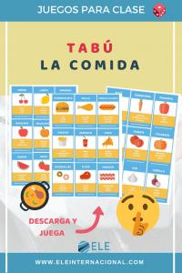 Juego Tabú La comida. Clase de español. Juego para trabajar las descripciones en clase de ELE. #gamificar #clasedeespañol