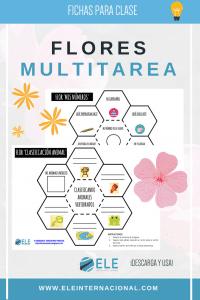 Flores multitarea para la clase de español. 12 recortables para hablar sobre gustos y muchas más cosas en clase de español. #vocabulario #actividades