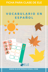 Léxico otoñal. Agrupaciones léxicas para amplicar vocabulario otoñal. #spanishteacher #vocabulary