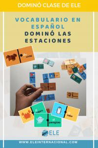 Las estaciones en clases de ELE. Juego de mesa dominó. Vocabulario las estaciones. #profedeele #Spanishteacher