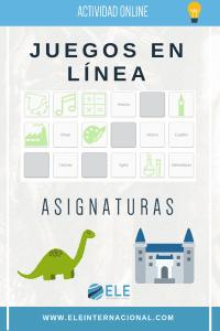 Actividades online. Juegos de vocabulario en clase de español. Las asignaturas. Learn Spanish online.