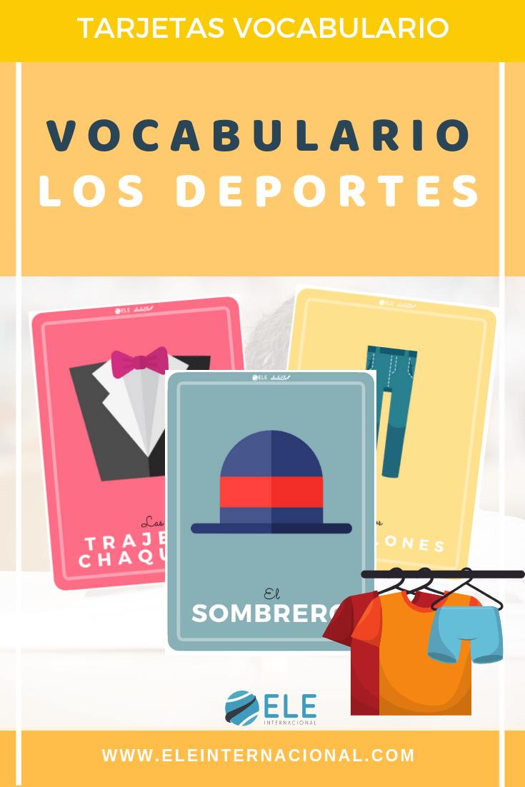 Tarjetas para trabajar vocabulario de la ropa en clase de español. Vocabulario y juegos en clase de ELE. #spanishteacher #profedeele