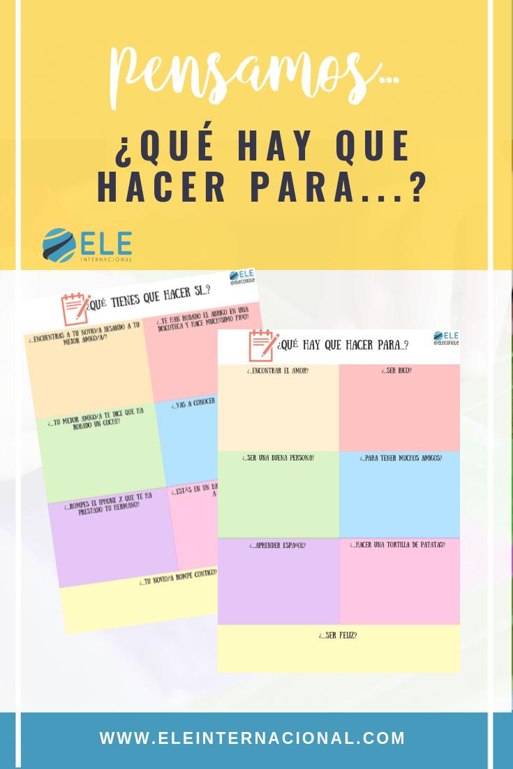 Instrucciones para la vida en clase de ELE. Actividad para que tus alumnos comenten qué hay que hacer en ciertas situaciones. #spanishteacher #activity