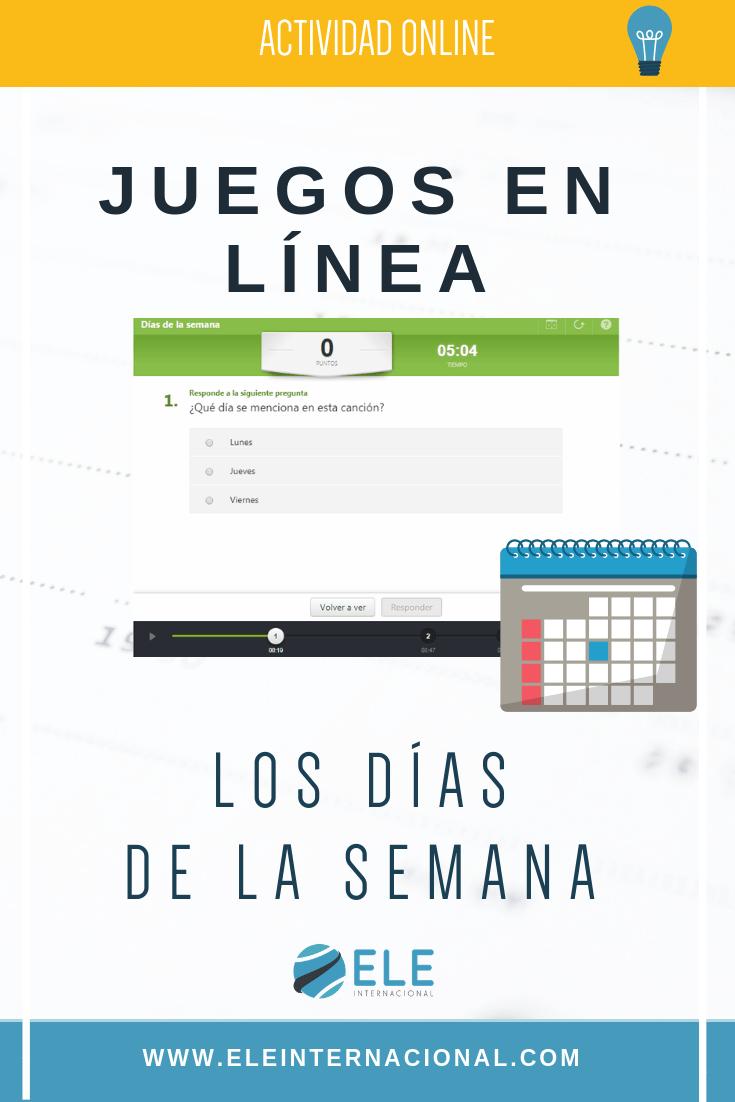 Juegos interactivos para clase de español. Los días de la semana en clase de ELE. #juegosinteractivos #profedeele