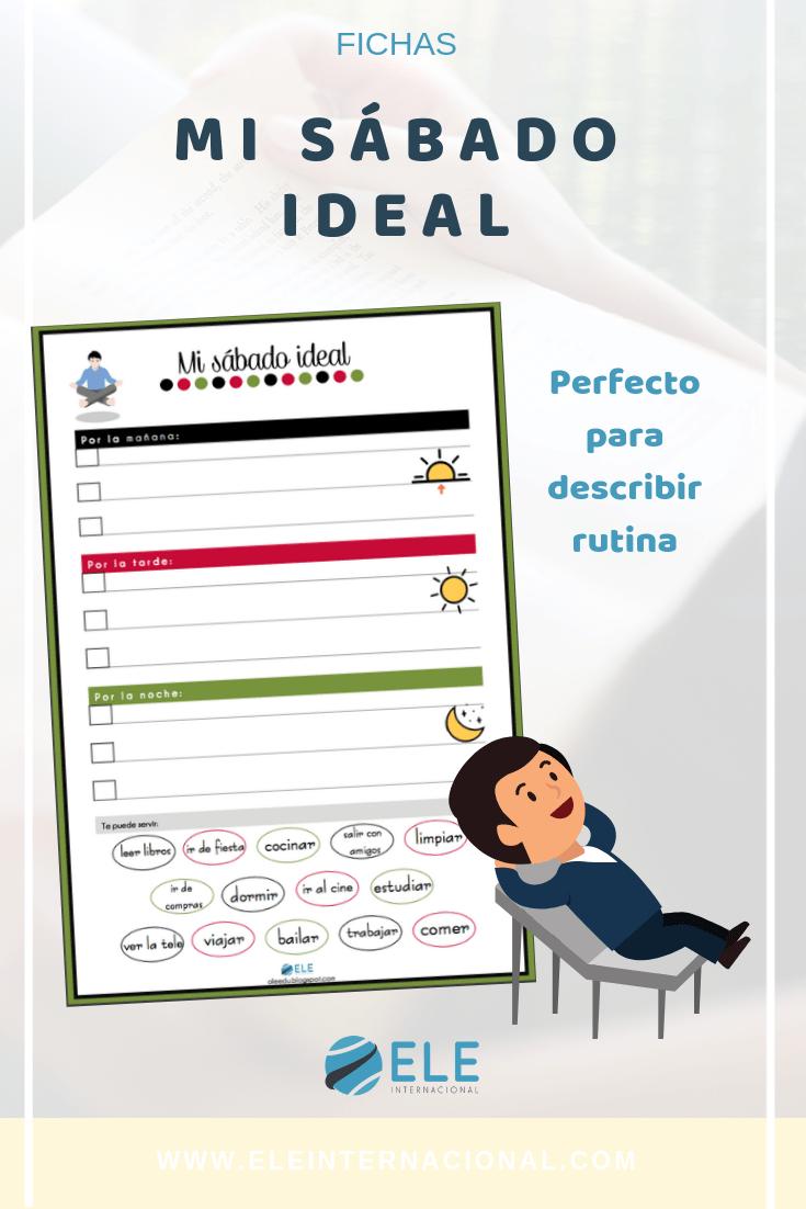 Ficha para planificar tu sábado ideal en clase de ELE. #activity #spanishteacher