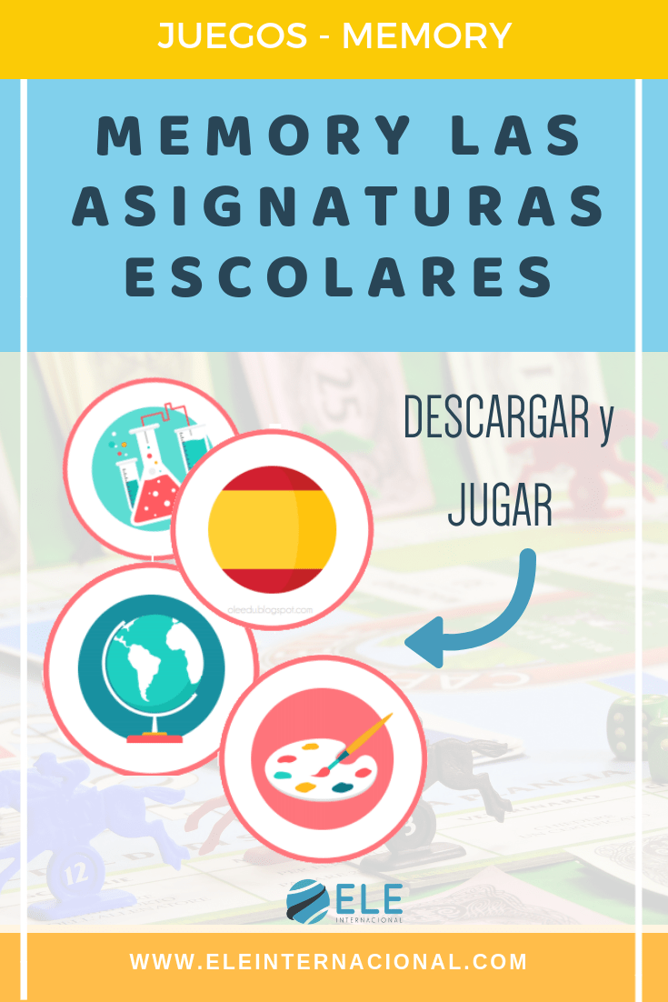 Memory sobre las asignaturas favoritas en clase de ELE. #activity #spanishteacher