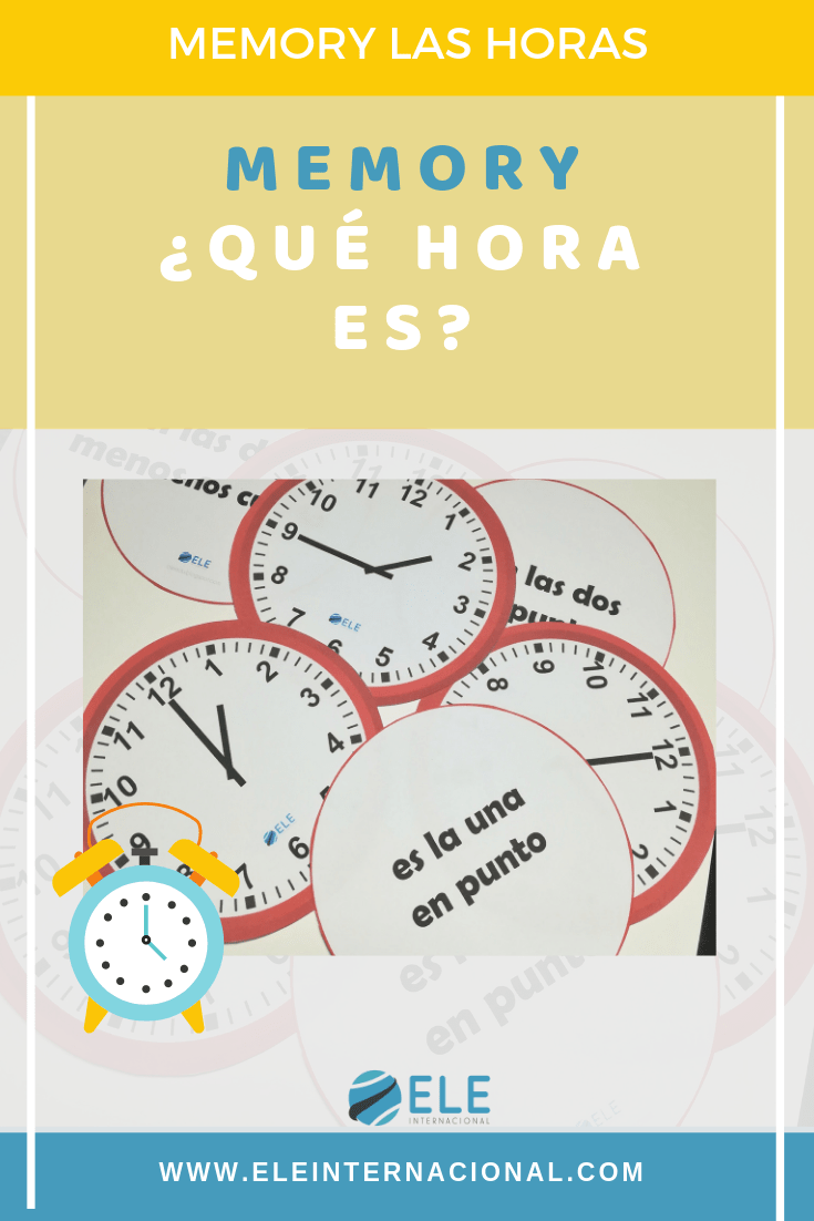 El memory de las horas es una actividad ideal para conocer más sobre el tiempo en clase de español. #spanishteacher #activity