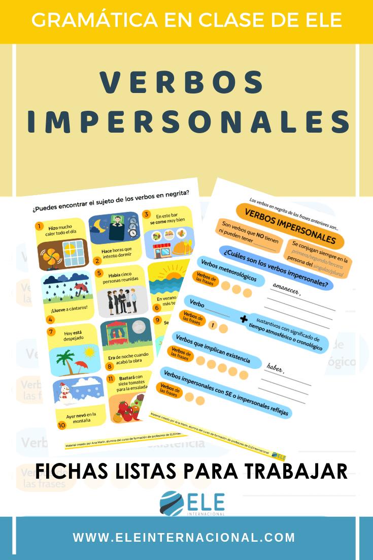 Trabaja los verbos impersonales con estas fichas. #spanishteacher #verbos