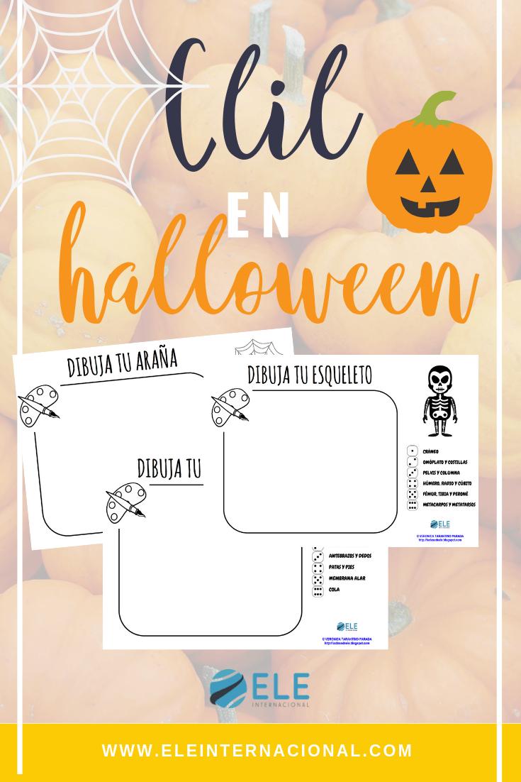 Metodología CLIL para halloween. Une diferentes partes del cuerpo y juega con los dados hasta completar seres espeluznantes. #clasesele #halloween #spanishteacher