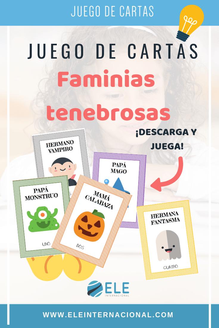 Materiales para trabajar en Halloween. El juego de las familias tenebrosas permitirá a tus alumnos aprender vocabulario y gramática en español con seres terrorífico. #clasedeele #enseñaespañol