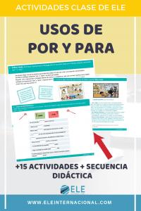 Los diferentes usos de por y para. Actividades y secuenciación didáctica para clase de español. El uso del cómic en clase de ELE. #profedeele #spanishteacher