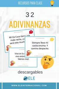 Juegos adivinanzas en clase de idiomas. Descargables para clase de español. Juegos para pensar #clasedeele
