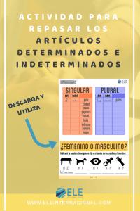 Libro de gramática para clase de español. Gramática en clase de ELE #spanishteacher #profedeele Activididad para repasar artículos determinados