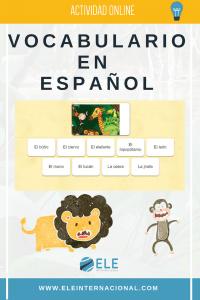 Actividad online para aprender español. #aprendeespañol Vocabulario los animales