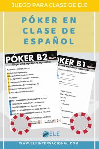 Póker-ELE. Fichas divertidas de vocabulario y gramática para tus clases de español. #juegos #claseele #spanishteacher