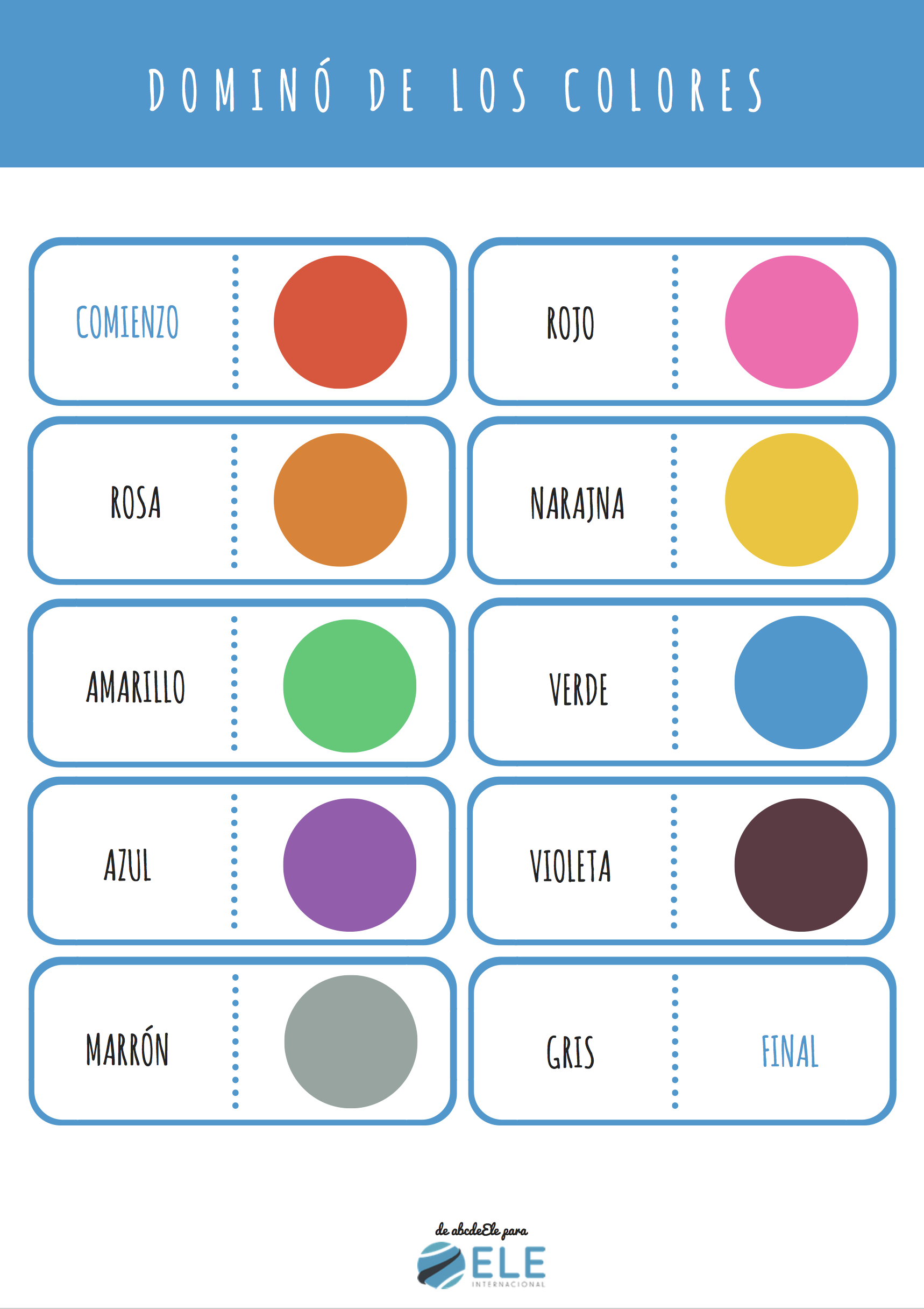Los colores en español Colours in Spanish domino Colors in SPanish Spanish for kids. Español para niños dominó #spanishteacher #profedeele