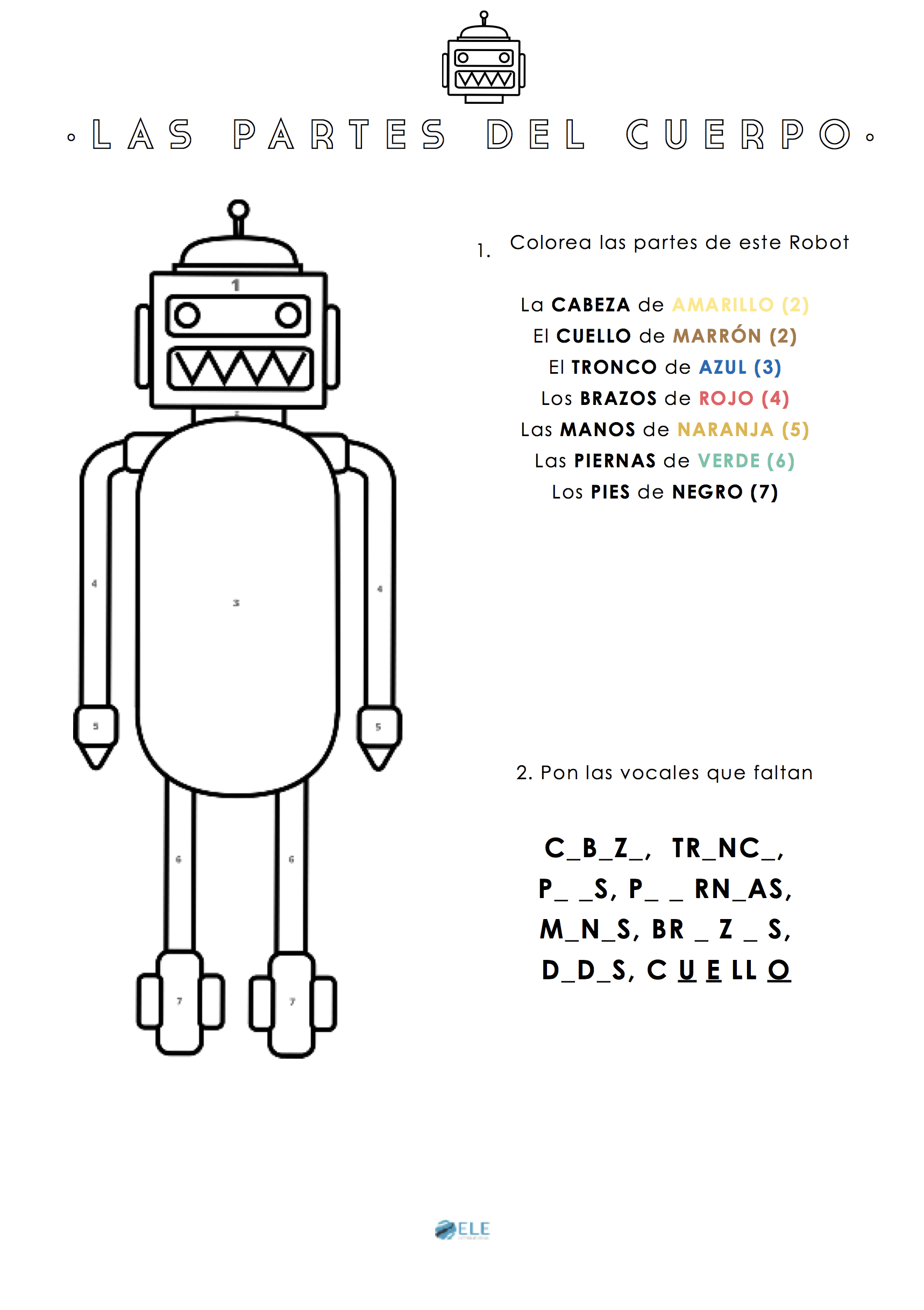 Español para niños las partes del cuerpo. Parts of the body in Spanish