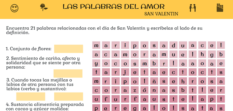 Sopa de letras San Valentín. Ideas para trabajar San Valentín en clase de ELE. #profedeele #spanishteacher
