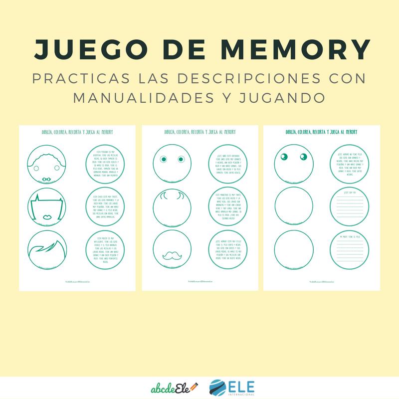 Juego memory descripciones físicas clase de ELE. #spanishteacher #profedeele