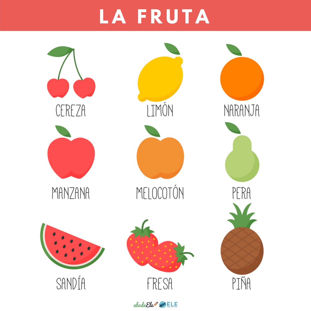 Pósteres vocabulario clase de ELE. Vocabulario fruta clase de ELE. Spanish food fruit.