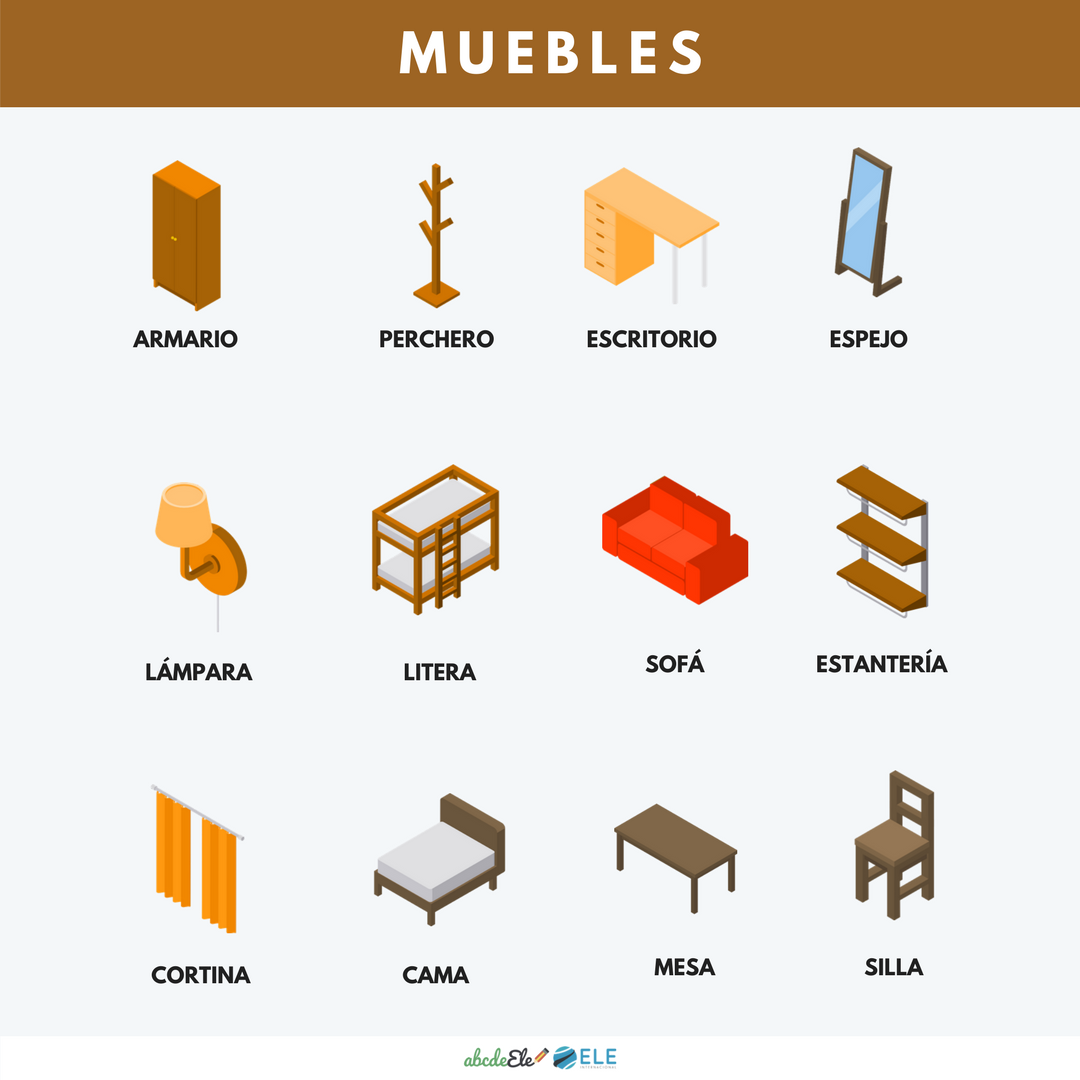 Pósteres vocabulario clase de ELE. Vocabulario muebles ELE. Spanish furniture vocabulary. #spanishteacher #profedeele