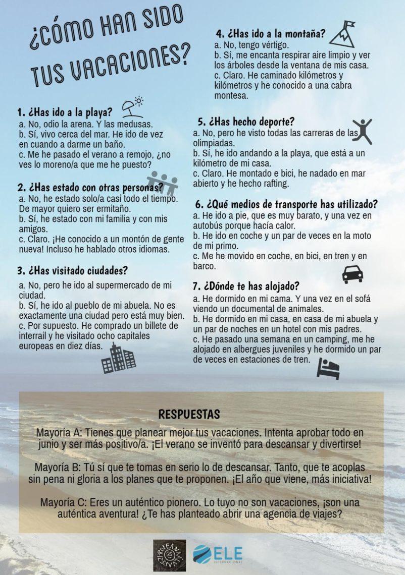 Uso de cuestionarios y test en clase de ELE Ideas para trabajar en clase de español #profedeele Activdades comprensión lectora