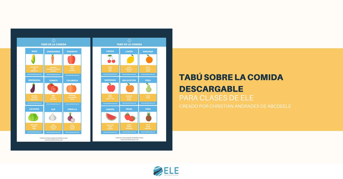 Juego Tabú La comida. Clase de español