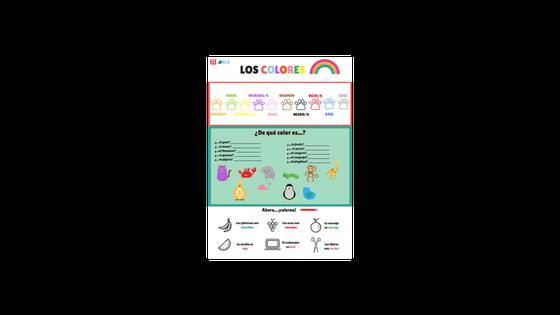 Ficha para trabajar los colores en clase de español. Perfecta para trabajar con los más pequeños. Vocabulario nivel A1. #spanishlesson #profedeele #recursosparaclase