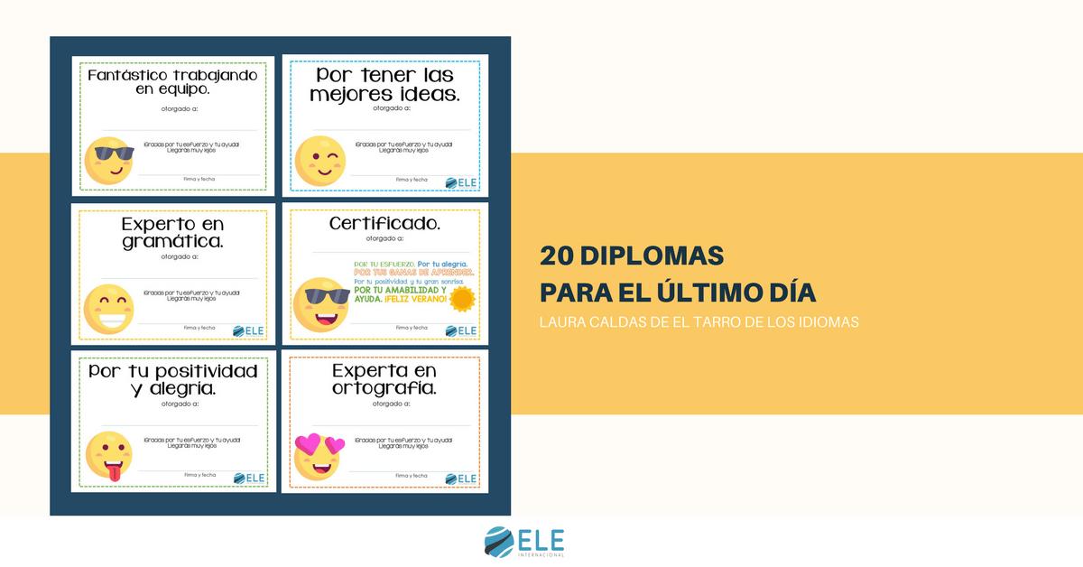 Diplomas para el último día de clase. Hay 20 diferentes para entregar entre tus alumnos. #spanishteacher #diplomas