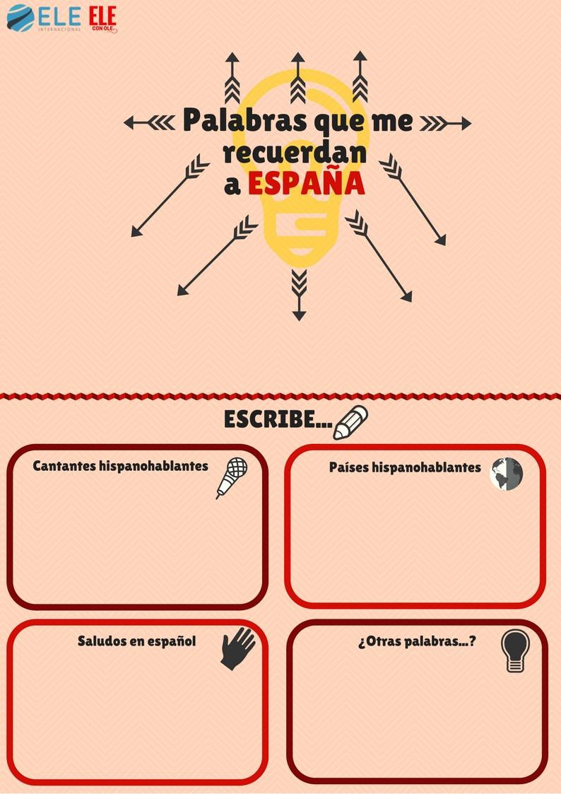 Actividad para ganar confianza en clase de ELE con palabras que recuerden a España. #spanishclass #learnspanish