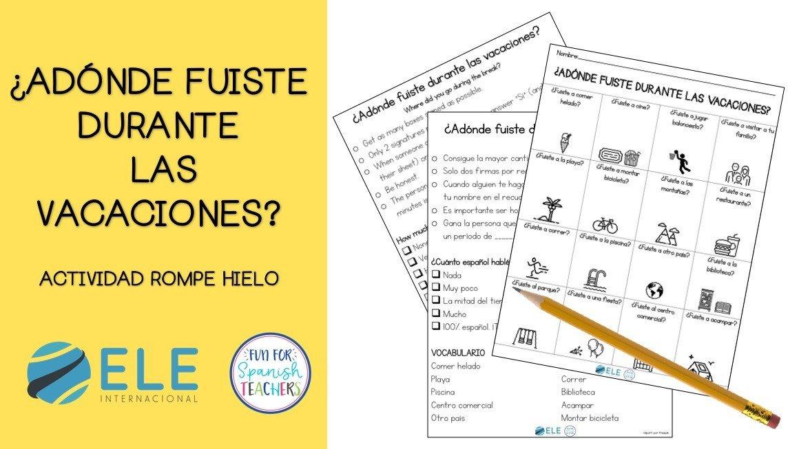 Actividad para trabajar vocabulario y expresión oral. Las vacaciones. #spanishlesson #vocabularioespañol