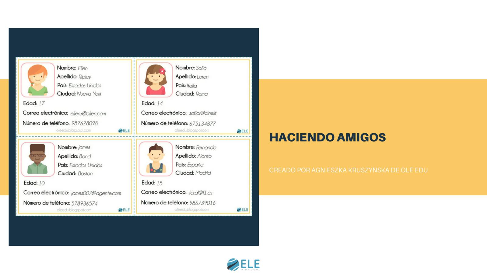 Haciendo amigos. Actividad para pedir y dar información personal en los primeros días de clase de ELE. #activity #spanishteacher