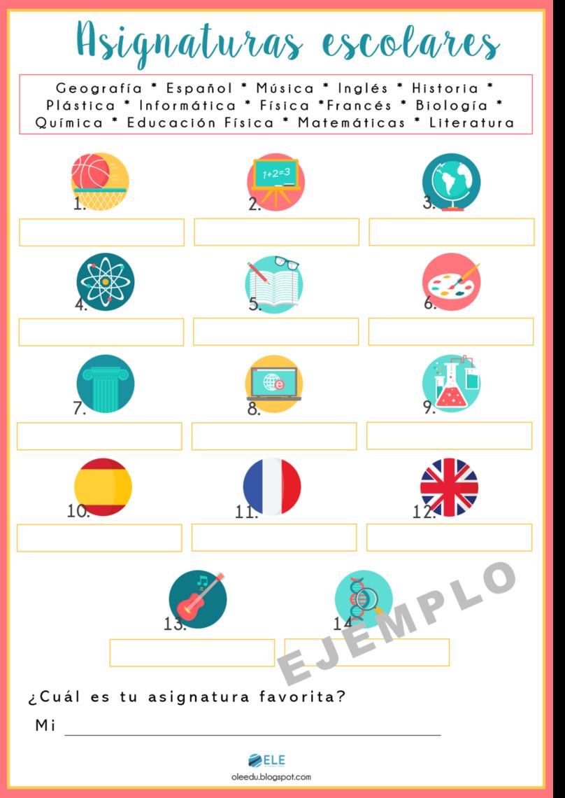 Ficha para conocer las asignaturas escolares favoritas de tus alumnos en clase de ELE. #activity #classroom