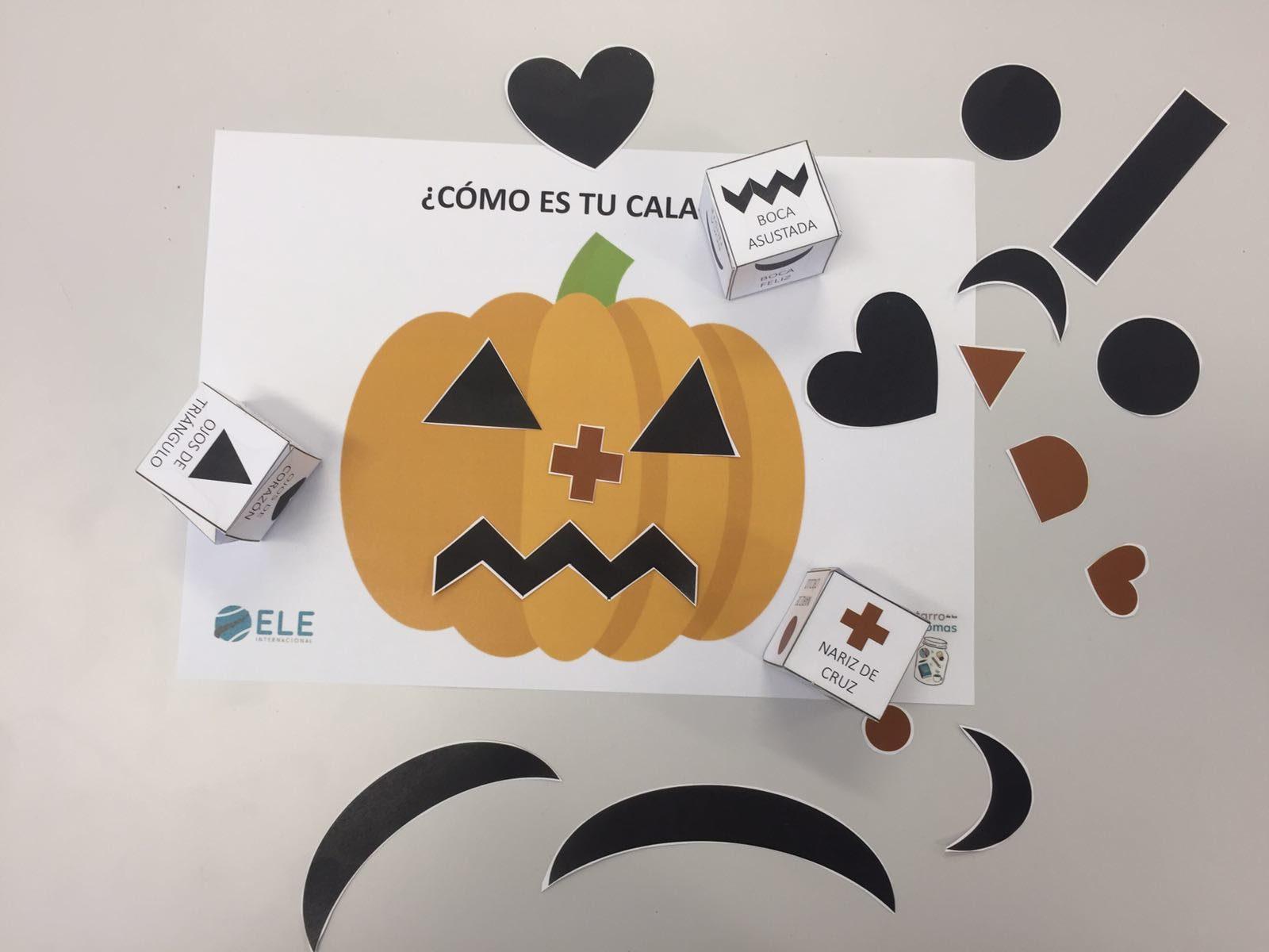Trabaja las emociones en Halloween tirando los dados para hacer una calabaza diferente. #halloween #activity