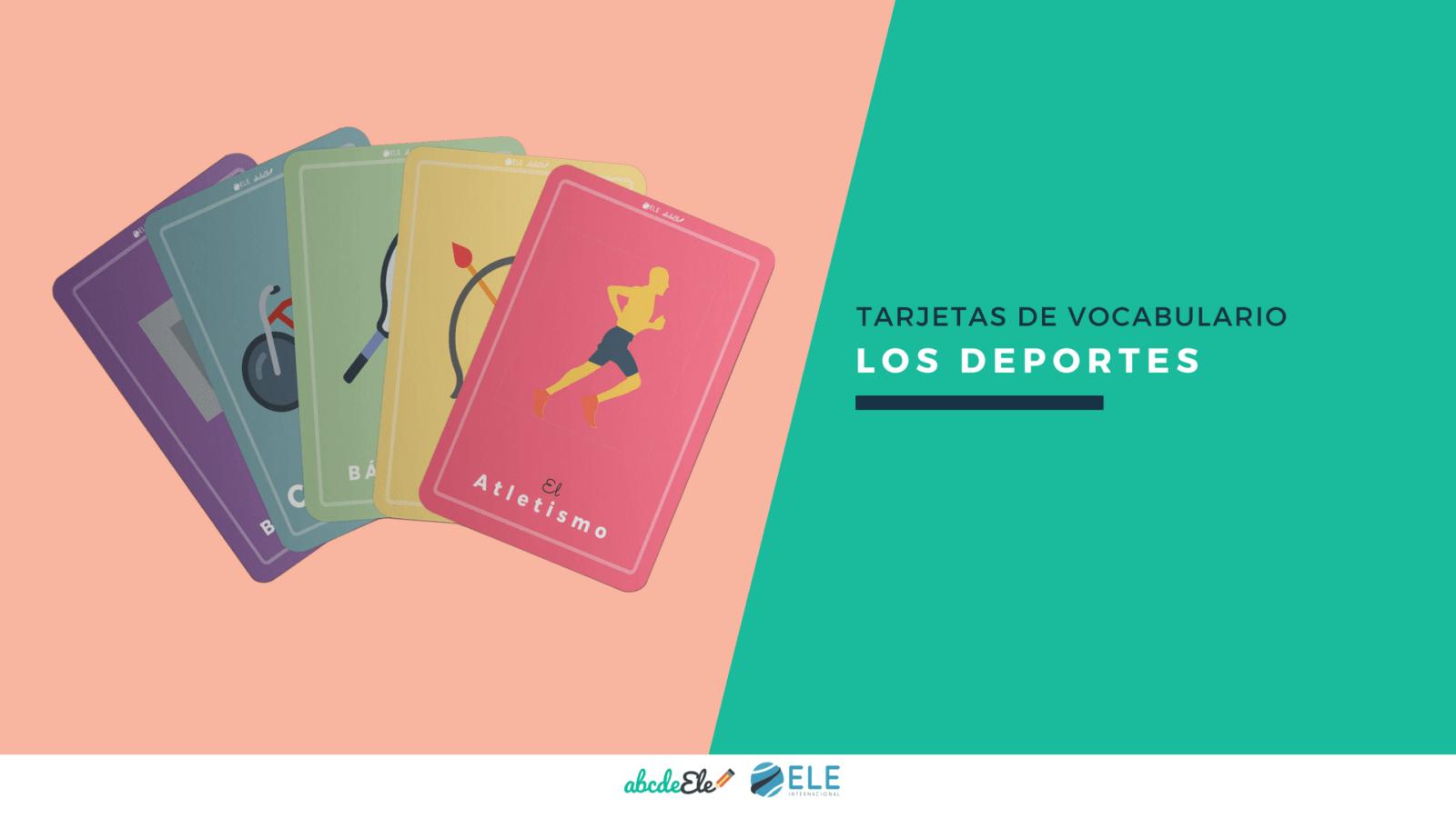 Vocabulario de deportes. Tarjetas para clase de español. Profe de ELE. Recursos para clase de español. #spanish #learnspanish