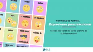 Expresiones para reaccionar en español. Tarjetas con emoticonos ideales para los más pequeños. #tarjetas #vocabulario #emoticonos