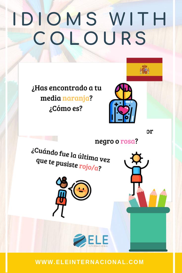 Expresiones con colores, para clase de español. Cultura en clase de español. Ideas para clase de español. Ideas for Spanish lesson.