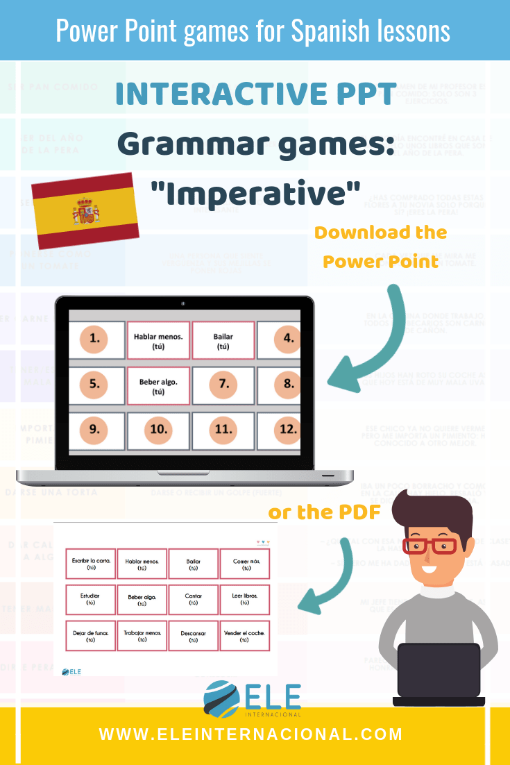 Games for Spanish lessons. Learn Spanish Grammar with games. PPT for your lessons.