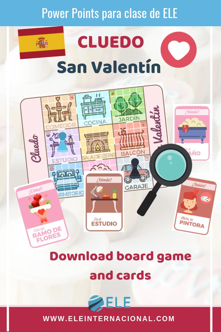 Juego de mesa para clase de español. El cluedo versión San Valentín. #profedeele #spanishteacher Ideas for Spanish lesson.