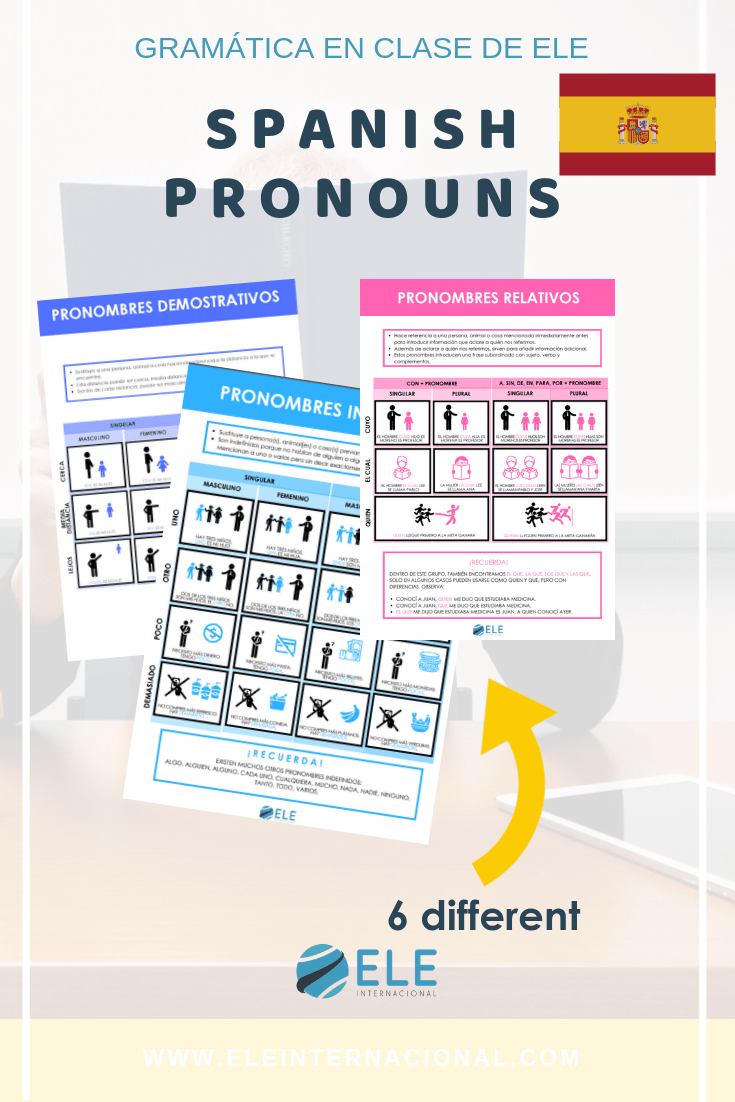 Infografías para clase de español. Trabajar con pronombres en clase de español. Gramática en clase de ELE. #spanishteacher #profedeELE