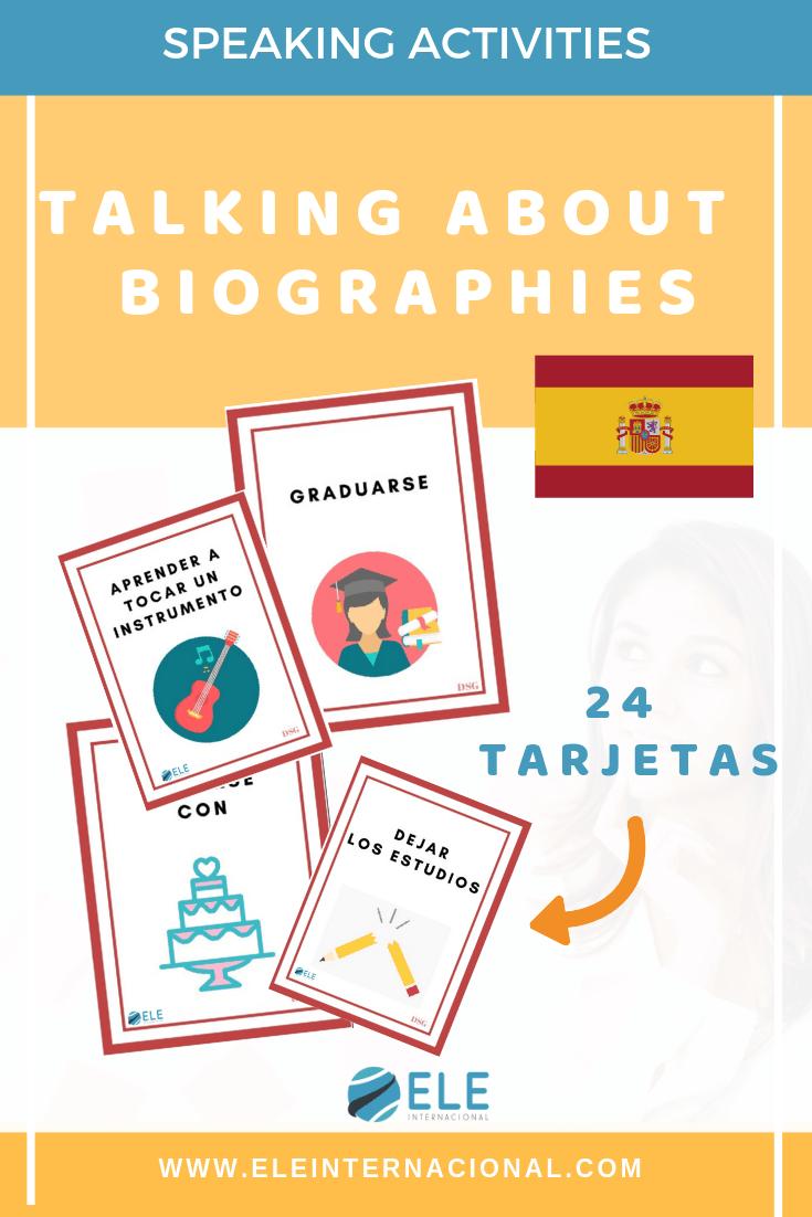 Actividades para trabajar las biografías en clase de español. Actividades para mejorar la comunicación oral. #profedeele #spanishteacher