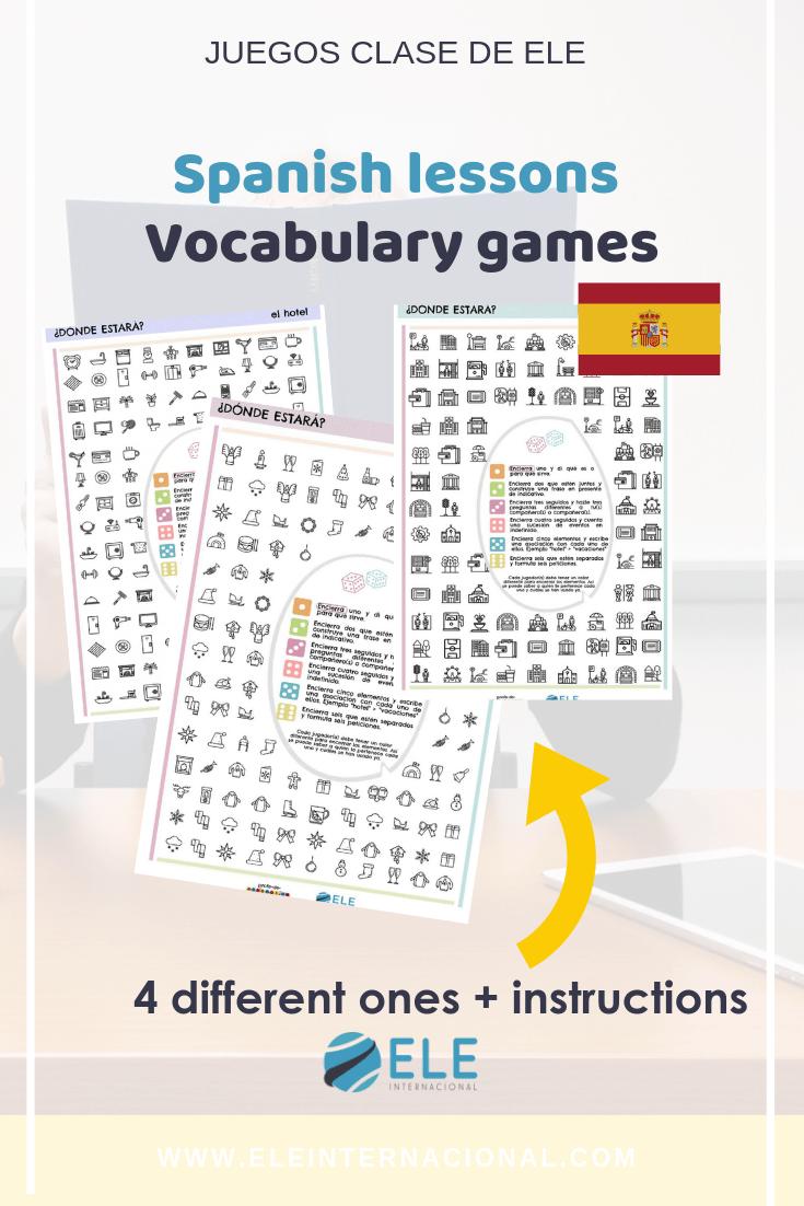 Juego de léxico para aprender clase de ELE de una forma divertida. #games #activity #spanishteacher