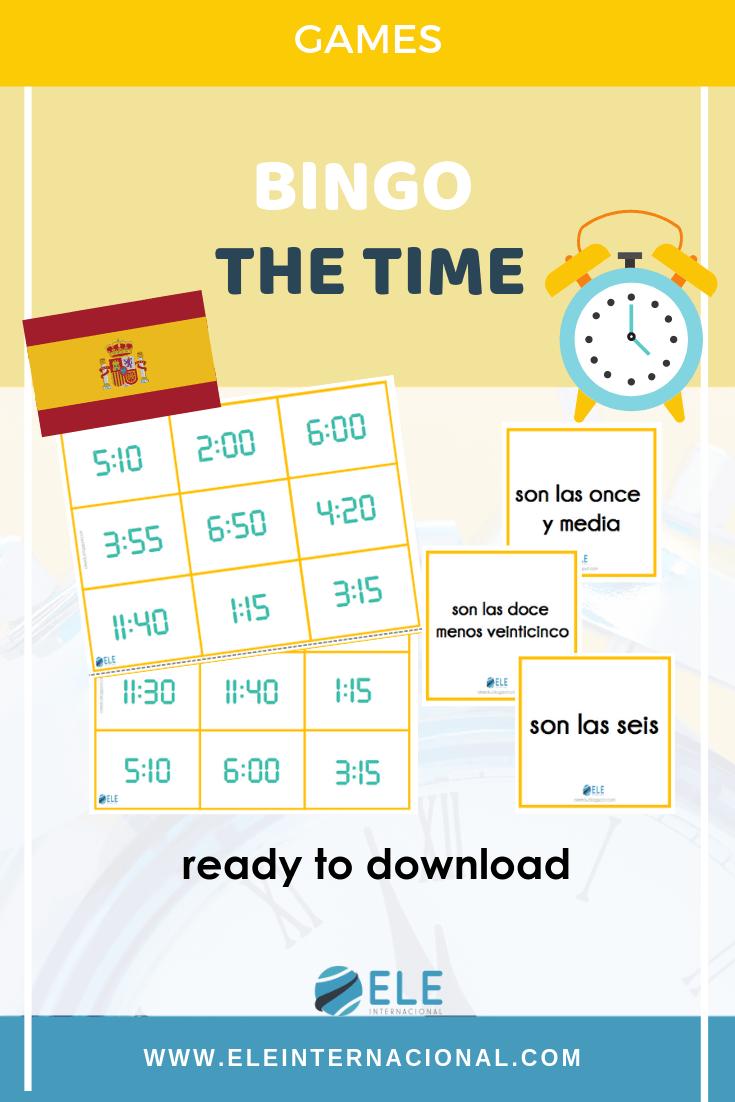 El bingo de las horas es una actividad ideal para hablar y enseñar la hora a tus alumnos. #activity #spanishteacher